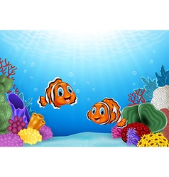 Cartoon clown fish with beautiful underwater world vector