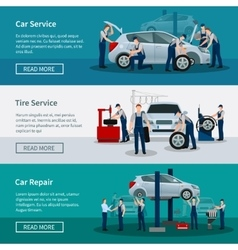 Horizontal banners of car service vector