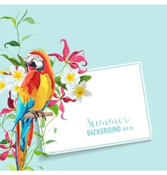Tropical flowers and leaves parrot bird graphic vector