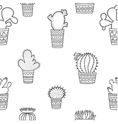 a seamless pattern of black-and-white cactuses vector image