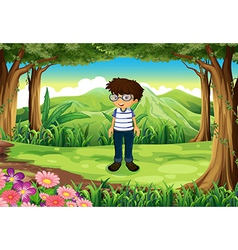 A smart man at the jungle vector image vector image