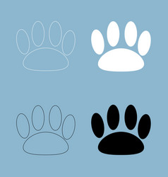 Animal footprint the black and white color icon vector