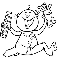 Baby boy with remote control and teddy bear for co vector