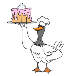 Cartoon duck chef with cake vector
