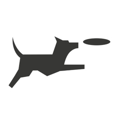 Cute dog with frisbee isolated icon design vector