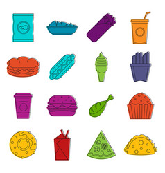 fast food icons doodle set vector image