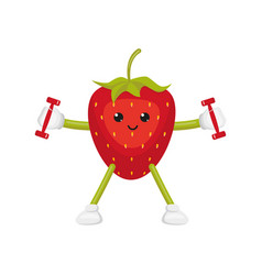 flat strawberry character doing fitness vector image vector image