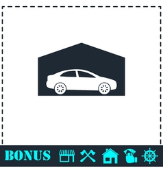 Garage icon flat vector