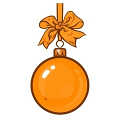 Gold christmas balls with ribbon and bows vector