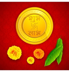 Gold Coin with Shubh Laav vector image