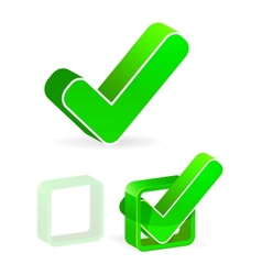 green check box with check mark vector image vector image