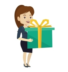 Joyful caucasian woman holding box with gift vector