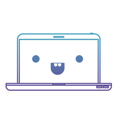 Kawaii laptop computer in degraded blue to purple vector