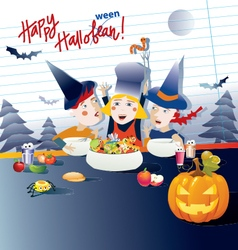 Kids cooking halloween dishes vector