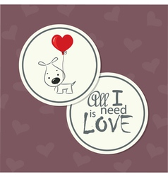 Love card dog with heart vector