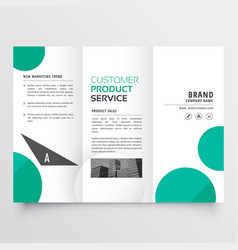 Modern green dots trifold brochure design vector