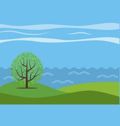 Panoramic cartoon landscape vector