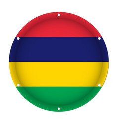 Round metallic flag of mauritius with screw holes vector