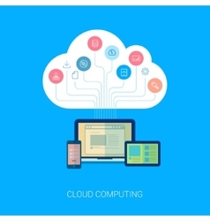 Saas cloud network and device analytics flat icon vector