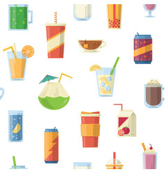seamless pattern with non alcoholic drinks vector image vector image