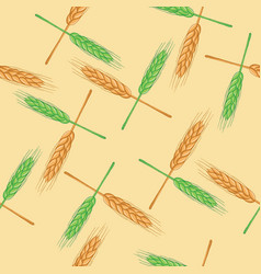 seamless pattern with wheat organic vector image vector image