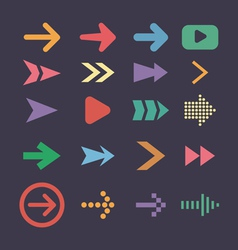 Set arrow icons flat UI design trend vector image