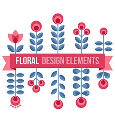 Set of design elements - retro flowers and ribbon vector image vector image