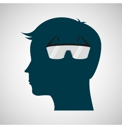 Silhouette head protection glasses laboratory vector