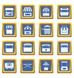 Street food truck icons set blue vector