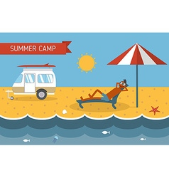 Summer beach camping postcard with lounging guy vector