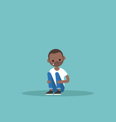 upset crying black guy sitting and hugging his vector image