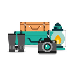 vacation equipment set camera luggage lamp and vector image