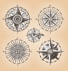 Vintage old antique nautical compass rose vector