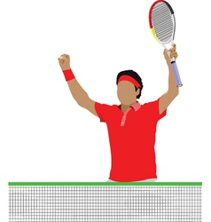 Tennis players in action vector
