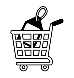 Shopping cart online price tag outline vector