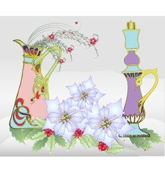 Christmas Card with White Poinsettia and Vase vector image