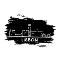 lisbon skyline silhouette hand drawn sketch vector image