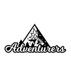 Monochrome logo adventure in the mountains the vector