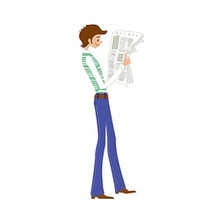 Side view of man reading newspaper vector