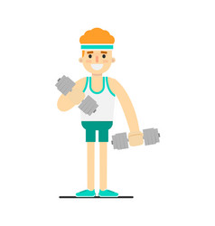 Sporty boy doing exercise with dumbbells vector
