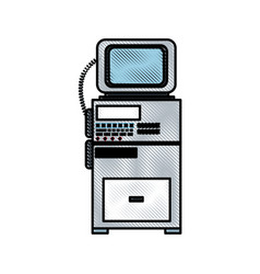Drawing monitoring cardiology technology equipment vector