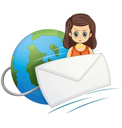A globe with a wired envelope and an angry woman vector image