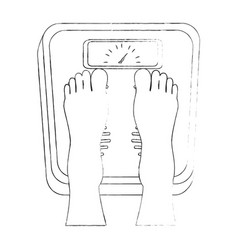 feets with scale weight measure icon vector image