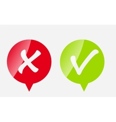 Red and green check mark icons vector