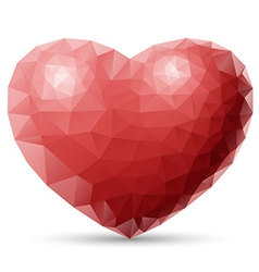 Red heart polygon vector