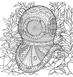 Divers helmet in coloring pages for adults vector