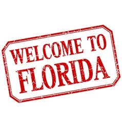 Florida - welcome red vintage isolated label vector