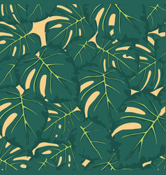 seamless pattern of green leaves monstera vector image