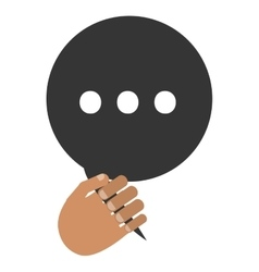 Hand holding conversation bubble vector