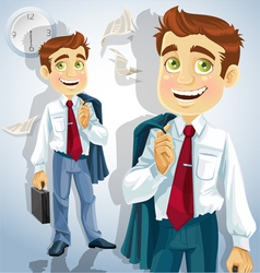 Happy businessman is going home vector